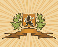 Brown shield with lion Royalty Free Stock Images