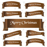 Brown shiny color merry christmas slogan curved ribbon banners eps10 Royalty Free Stock Photos