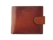 Brown shiny wallet on white background Stock Photos