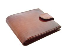 Brown shiny wallet on white background. Elegant brown shiny leather wallet on white background Stock Photo