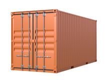 Brown ship cargo container side view 20 feet length. Ship cargo container 20 feet length. Brown metallic freight box isolated on white background. Marine Royalty Free Stock Image