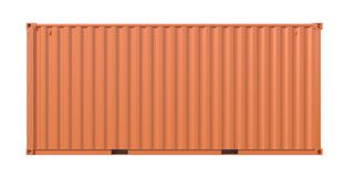 Brown ship cargo container side view 20 feet length. Ship cargo container 20 feet length, side view. Brown metallic freight box isolated on white background Royalty Free Stock Image