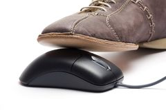 Brown  shoe and black mouse. Isolated on white Stock Photo