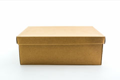 Brown shoe box on white background with clipping path. Stock Photos