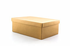 Brown shoe box on white background with clipping path. For shoes, electronic device and other products Stock Photo