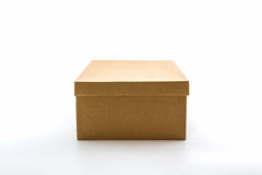 Brown shoe box on white background with clipping path. For shoes, electronic device and other products Royalty Free Stock Photos