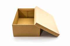 Brown shoe box on white background with clipping path. For shoes, electronic device and other products Royalty Free Stock Photography