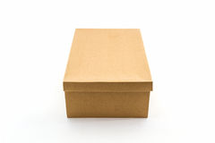 Brown shoe box on white background with clipping path. Stock Photo