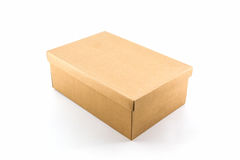 Brown shoe box on white background with clipping path. Stock Images