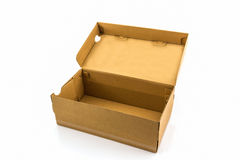 Brown shoe box on white background with clipping path. Royalty Free Stock Photography