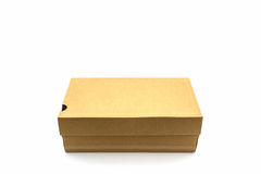 Brown shoe box on white background with clipping path. Stock Photography