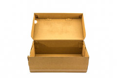 Brown shoe box on white background with clipping path. Stock Image