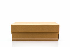 Brown shoe box on white background with clipping path. For shoes, electronic device and other products Stock Image