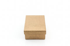 Brown shoe box on white background with clipping path. Royalty Free Stock Images