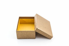Brown shoe box on white background with clipping path. For shoes, electronic device and other products Stock Photography