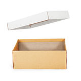 Brown shoe box on white background with clipping path. Royalty Free Stock Image