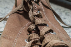 Brown shoelace Royalty Free Stock Images