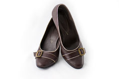 Brown Shoes. Brown classical high heel shoes for ladies Royalty Free Stock Photography