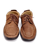 Brown shoes. Pair of leather shoes on isolated background Stock Images