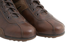 Brown shoes. Isolated over white Stock Images