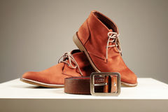 Brown shoes and belt. fashion men set Stock Photo