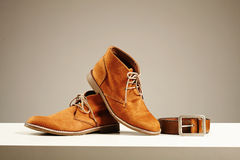 Brown shoes and belt. fashion men set Stock Image