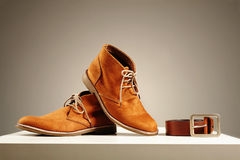 Brown shoes and belt. fashion men set Stock Photography