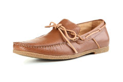 Brown shoes. Fashion brown shoes isolated on a white Royalty Free Stock Image