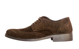 Brown shoes. Isolated brown suede shoes on the white background Stock Images