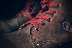 Brown Shoes with Lace Royalty Free Stock Photography