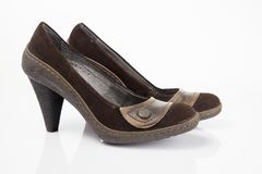 Brown shoes leather Royalty Free Stock Photography