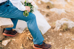 Brown shoes on male legs Stock Images