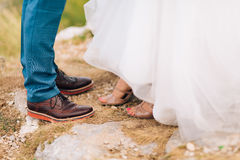 Brown shoes on male legs Royalty Free Stock Photos