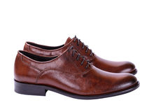 Brown shoes for men business style on white Royalty Free Stock Image