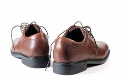 Brown shoes on white background. Royalty Free Stock Image
