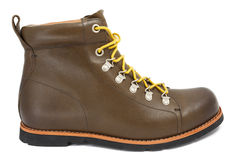 Brown shoes with yellow laces Royalty Free Stock Image