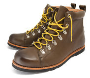 Brown shoes with yellow laces Royalty Free Stock Images