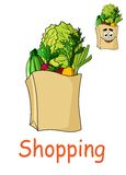 Brown shopping bag with fresh groceries Royalty Free Stock Image