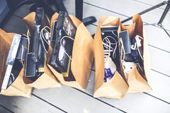Brown shopping bags Royalty Free Stock Image