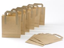 Brown shopping bags Stock Images