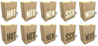 Brown shopping bags, totes, tote bags, natural, ecological paper material, sales slogans, print, Set 2 Stock Image