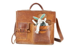 Brown shoulder bag with cute toy Stock Images