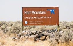 Hart Mountain National Antelope Wildlife Refuge Sign Oregon. Brown sign Hart Mountain refuge entrance Oregon North America stock photos