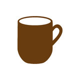 brown silhouette big mug with handle Vector Illustration