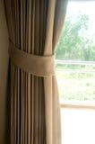 Brown silk curtain Stock Photos