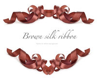 Brown silk ribbon on white Royalty Free Stock Images