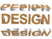 3D word - design. Brown and silver  3d- design Royalty Free Stock Photos