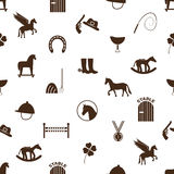 Brown simple horse theme icons seamless pattern eps10 Stock Photography
