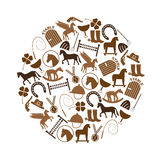 Brown simple horse theme icons set in circle eps10 Royalty Free Stock Photos