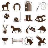 Brown simple horse theme icons set eps10 Royalty Free Stock Photo